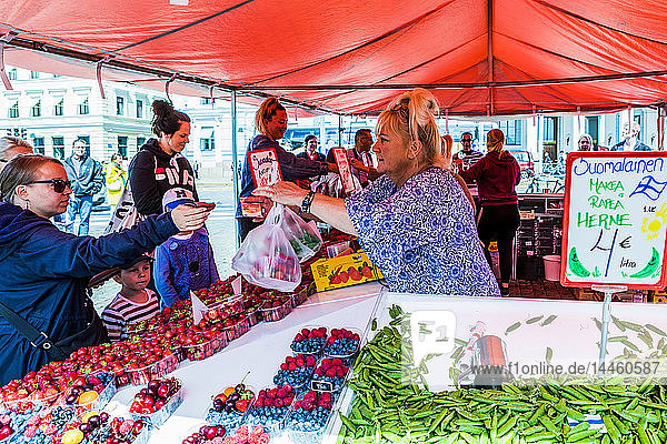 Fruit and vegetable stall at market in Helsinki  Finland  Uusimaa