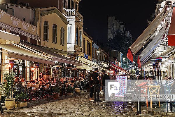 The Ladadika area at night with crowd in pedestrian zone of district famous for its bars and restaurants  Thessaloniki  Greece