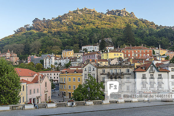 Old town of Sintra with view to the Moorish Castle atop the surrounding hills  Sintra  Portugal