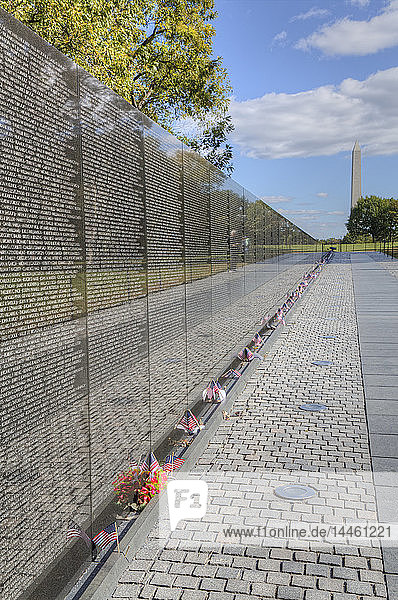 The Wall  Washington Monument in the background  Vietnam Veterans Memorial  Washington D.C.  United States of America  North America