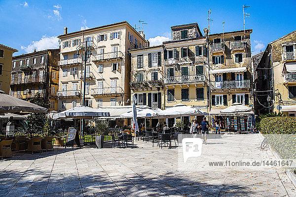 Public square in old town of Corfu  Corfu Island  Ionian Islands  Greece
