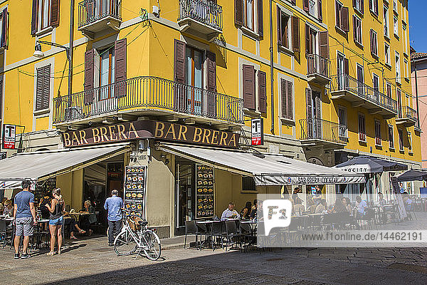 View of bar and colourful architecture in Brera District  Milan  Lombardy  Italy