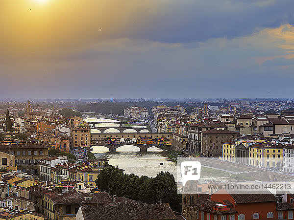 View from Piazzale Michelangelo of the City and the Arno River  Florence  Tuscany  Italy