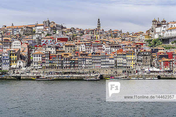 View across the Douro River to Ribeira traditional waterfront houses and moored tourist ships  UNESCO World Heritage Site  Porto  Portugal