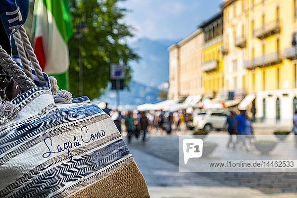View of souvenir bags and shopping in Como  Province of Como  Lake Como  Lombardy  Italian Lakes  Italy