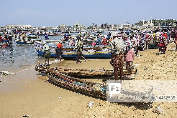 Fishing boats at Vizhinjam beach fish market  near Kovalam  Kerala  India  South Asia