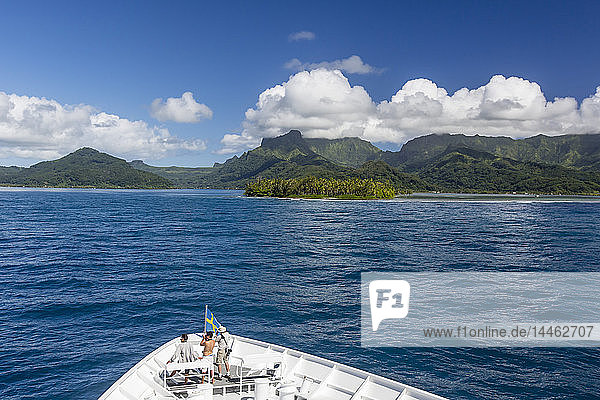 On approach to Raiatea through a break in the atoll reef  Society Islands  French Polynesia  South Pacific