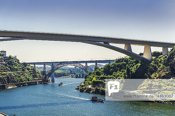View of three bridges over Douro River with tourist ships in front of Infante D. Henrique  Maria Pia and St. John bridges  Porto  Portugal