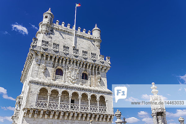 Fortified floors and terrace view of the Torre de Belem (Belem Tower)  medieval defensive tower on the bank of Tagus River  UNESCO World Heritage Site  Belem  Lisbon  Portugal