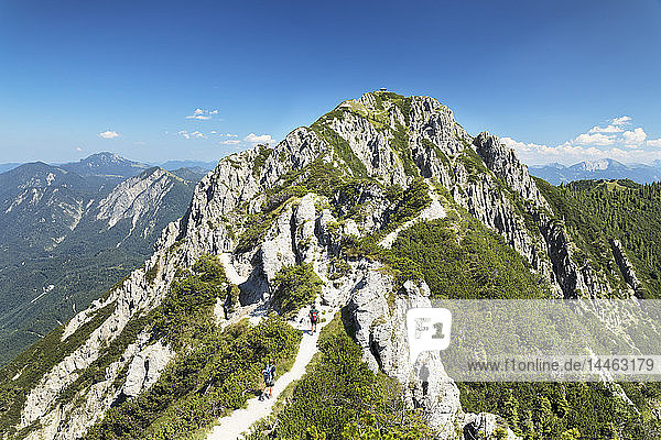 Hikers on Gratweg Trail from Heimgarten to Herzogstand Mountain  Upper Bavaria  Bavaria  Germany  Europe