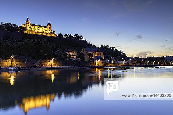 Marienberg Fortress and River Main at dusk  Wurzburg  Bavaria  Germany