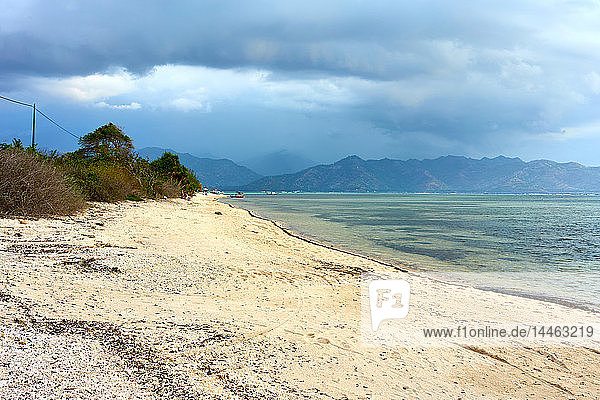 Beach in Gili Air with Lombok in background  Indonesia  Southeast Asia