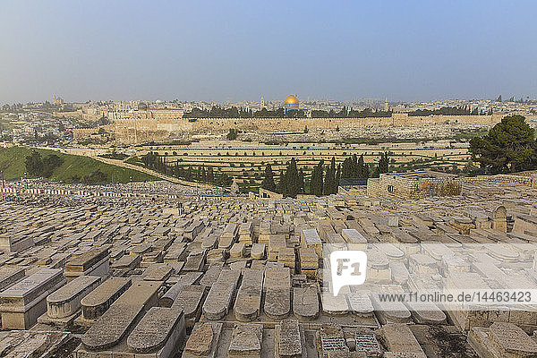 View of Mount of Olives and Dome of the Rock  Jerusalem  Israel  Middle East