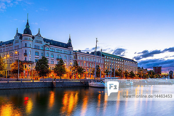 Waterfront at sunset in Helsinki  Finland