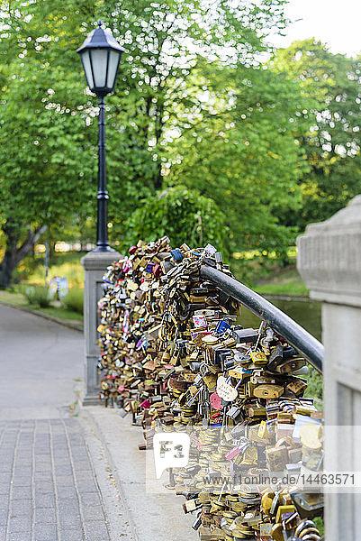 Lovers Locks on Bridge  Bastejkalnna Parks  Riga  Latvia