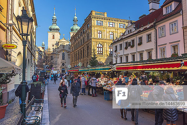 Christmas Market  Havelska Market Place  Stare Mesto (Old Town)  Prague  Czech Republic  Europe