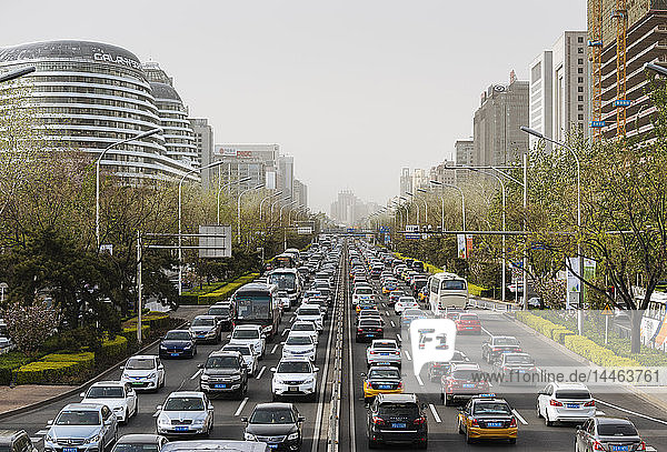 Congested traffic on main road in central Beijing  China