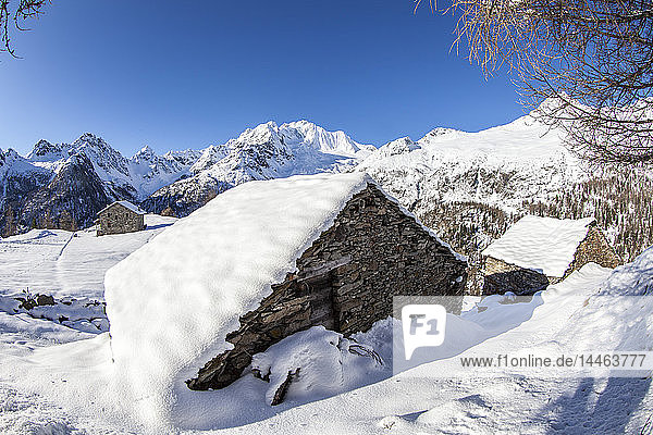Hut covered with snow with Monte Disgrazia on background  Alpe dell'Oro  Valmalenco  Valtellina  Lombardy  Italy