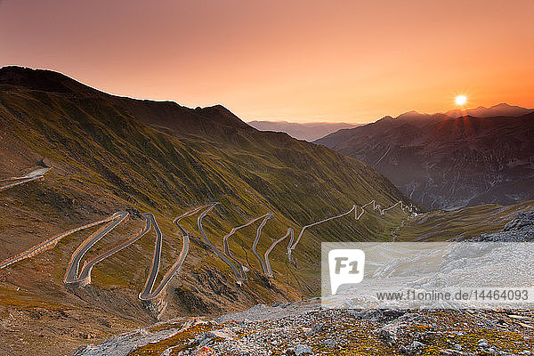 Sunrise over the Stelvio Pass (Passo dello Stelvio)  Eastern Alps  Italy