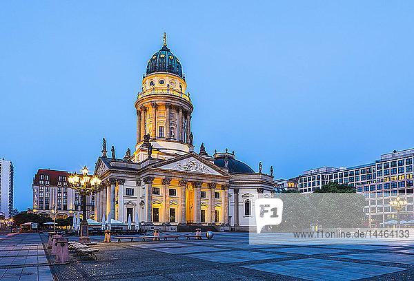 Deutscher Dom at sunset in Gendarmenmarkt square  Berlin  Germany
