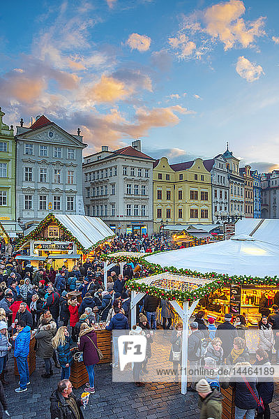 Christmas Markets  Staromestske namesti (Old Town Square)  Stare Mesto (Old Town)  UNESCO World Heritage Site  Prague  Czech Republic  Europe