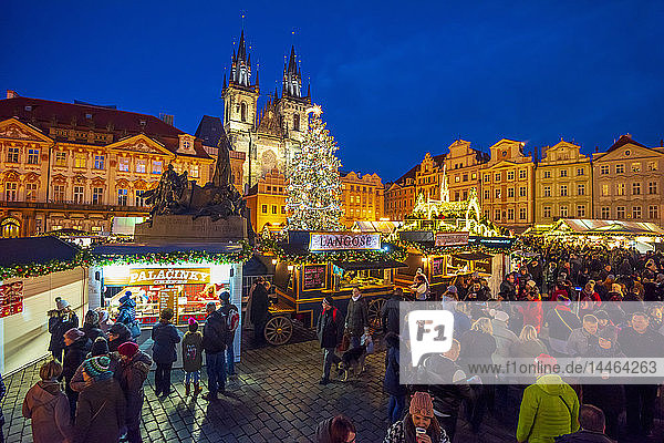 Church of Tyn and Christmas Markets  Staromestske namesti (Old Town Square)  Stare Mesto (Old Town)  UNESCO World Heritage Site  Prague  Czech Republic  Europe