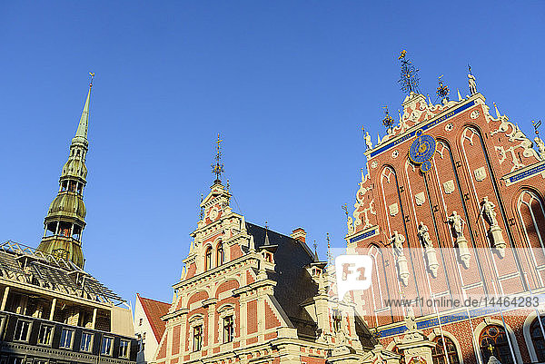 St. Peter's Church's spire  House of Blackheads  Town Hall Square  UNESCO World Heritage Site  Riga  Latvia