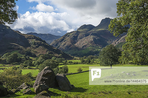 Langdale Pikes in English Lake District National Park  England