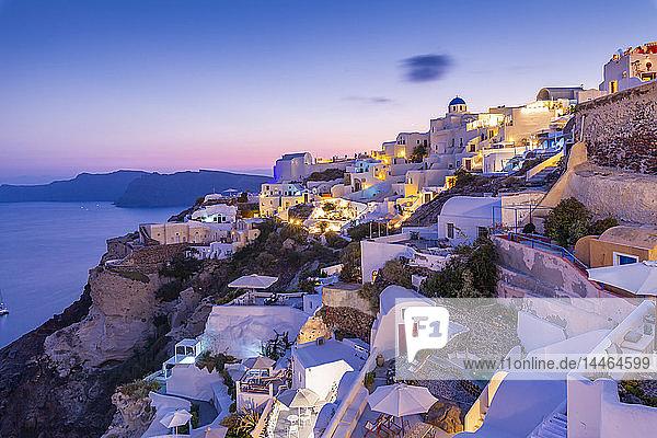View of Oia village at dusk  Santorini  Cyclades  Aegean Islands  Greek Islands  Greece  Europe