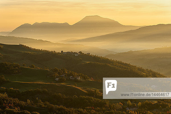 Autumn in Tosco Emiliano Apennines at dawn  Apuan Alps  Lizzano in Belvedere  Emilia Romagna  Italy