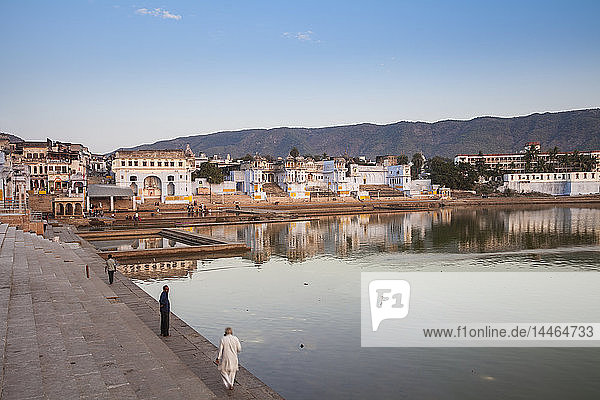 Pushkar Lake and bathing ghats  Pushkar  Rajasthan  India