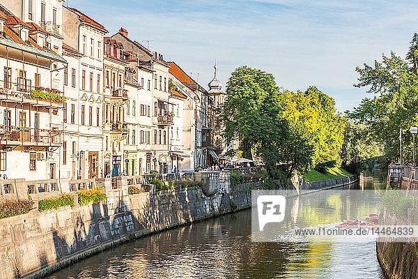 Houses line the Sava River  Ljubljana  Slovenia