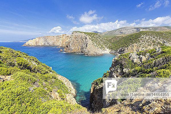Beach of Cala Domestica from above  Iglesias  Sud Sardegna province  Sardinia  Italy  Mediterranean  Europe