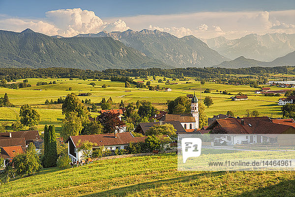 View from Aidlinger Hoehe over Aidling to Wettersteingebirge and Zugspitze mountain  Upper Bavaria  Bavarian Alps  Bavaria  Germany  Europe