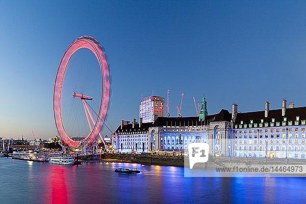 London Eye at sunset in London  England