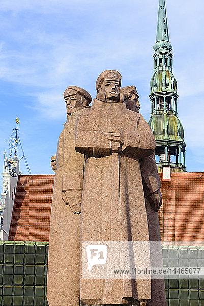 Latvian Red Riflemen Statue  Riga  Latvia