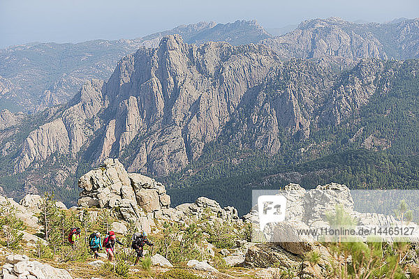 Trekking on the GR20 in Corsica near the Aiguilles de Bavella towards Refuge d'Asinao  Corsica  France  Mediterranean