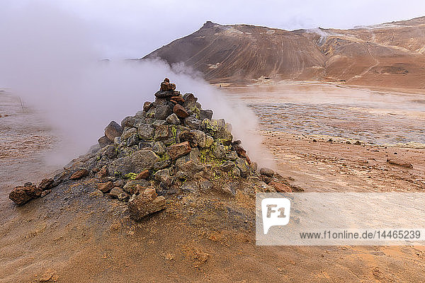 Fumarole in Namafjall Geothermal Area in Iceland
