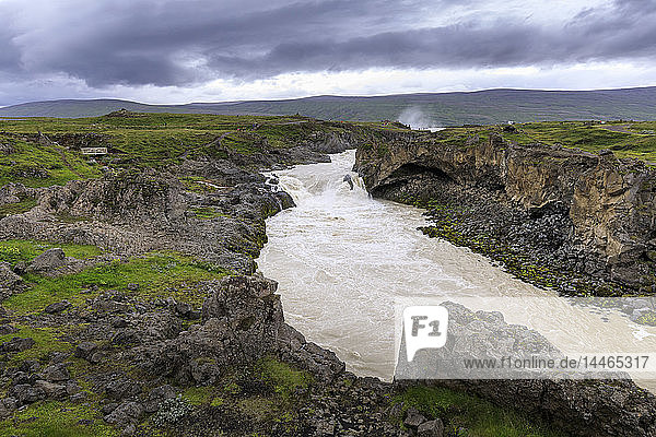 River from Godafoss waterfall in Iceland