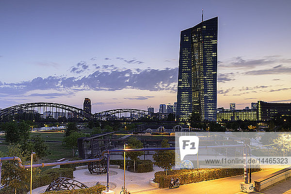 European Central Bank at sunset  Frankfurt  Hesse  Germany