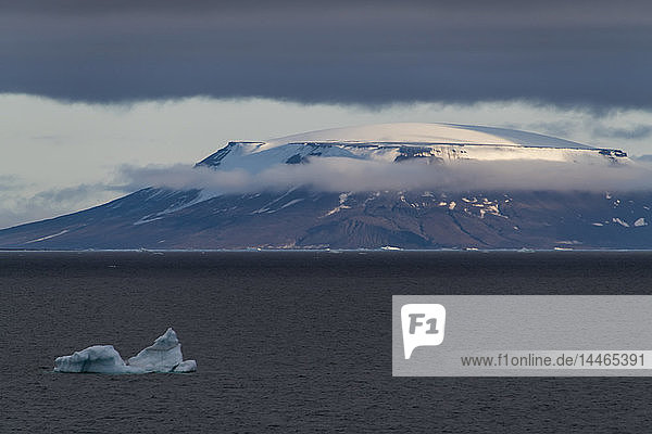 Flat table mountains covered with ice  Franz Josef Land archipelago  Arkhangelsk Oblast  Arctic  Russia