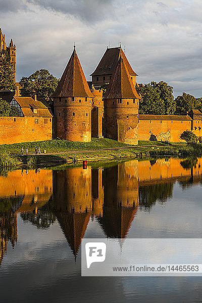 Poland  Malbork Castle at River Nogat in the evening light