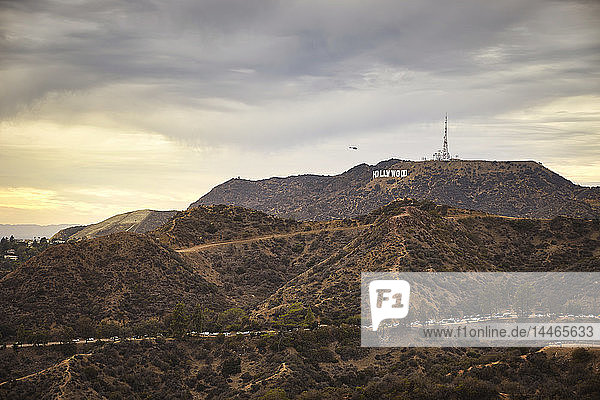 USA  Hollywood sign in the evening