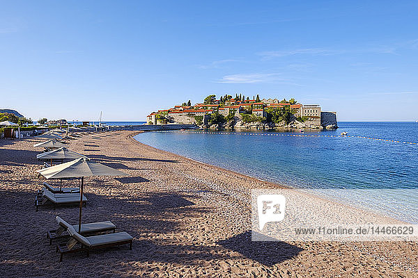 Montenegro  Adriatic Coast  Hotel Island Sveti Stefan and beach  near Budva