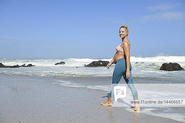 Porträt einer glücklichen schwangeren Frau am Strand  die im Meer watet