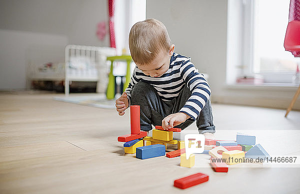 Toddler boy playing with building blocks at home
