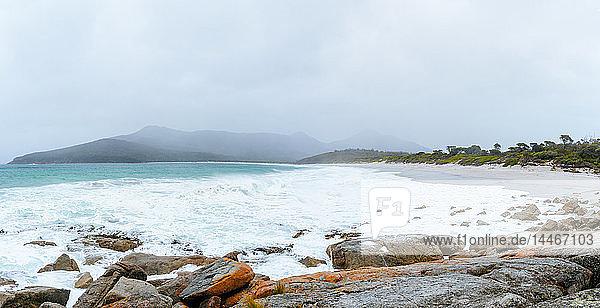 Australia  Tasmania  Freycinet National Park  Wineglass Bay on foggy day