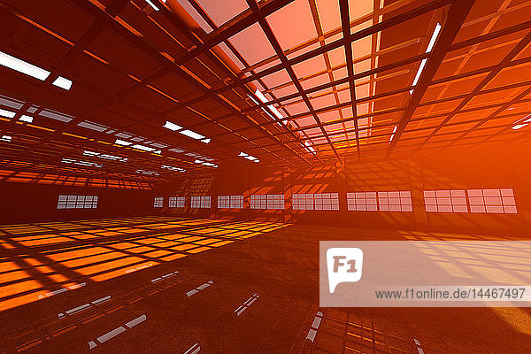 Architecture visualization of an empty warehouse  3D Rendering