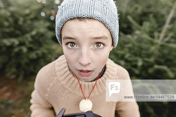 Portrait of a boy wearing woolen hat