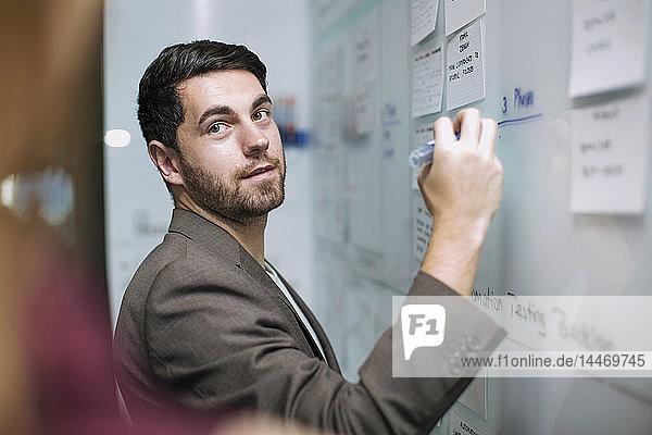 Geschäftsmann schreibt Notizen auf einer Tafel